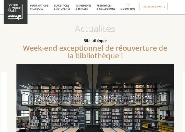 Réouverture de la bibliothèque de l'IMA : 31 mars 2017